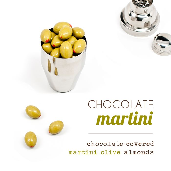 "Mini Martini Giftset | Sugarfina - This beautiful, single-serving martini shaker is loaded with 3.5oz our chocolate-covered martini olive almonds.  In mirrored stainless steel, the 3-piece shaker has a modern, elegant design and stands 6"" tall and 2.5"" wide."