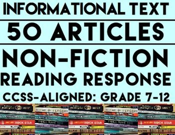 Informational Text Questions: 50 Non-Fiction Articles: Teach Common Core informational Text Reading Skills with 50 non-fiction articles and accompanying text-based questions that students will love!  FULL-YEAR'S WORTH OF NON-FICTION READING RESPONSE ACTIVITIES!! - 18 two to three page articles. - 32 half page articles. - All 50 articles have 4 accompanying text-based questions #informationaltexthighschool #informationaltextmiddleschool