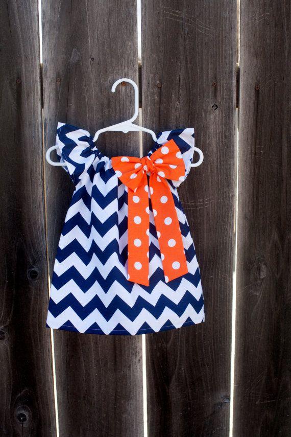Denver Broncos Super Bowl Navy Chevron Orange Polka Dot Bow Peasant Dress - Baby Girl on Etsy, $30.00