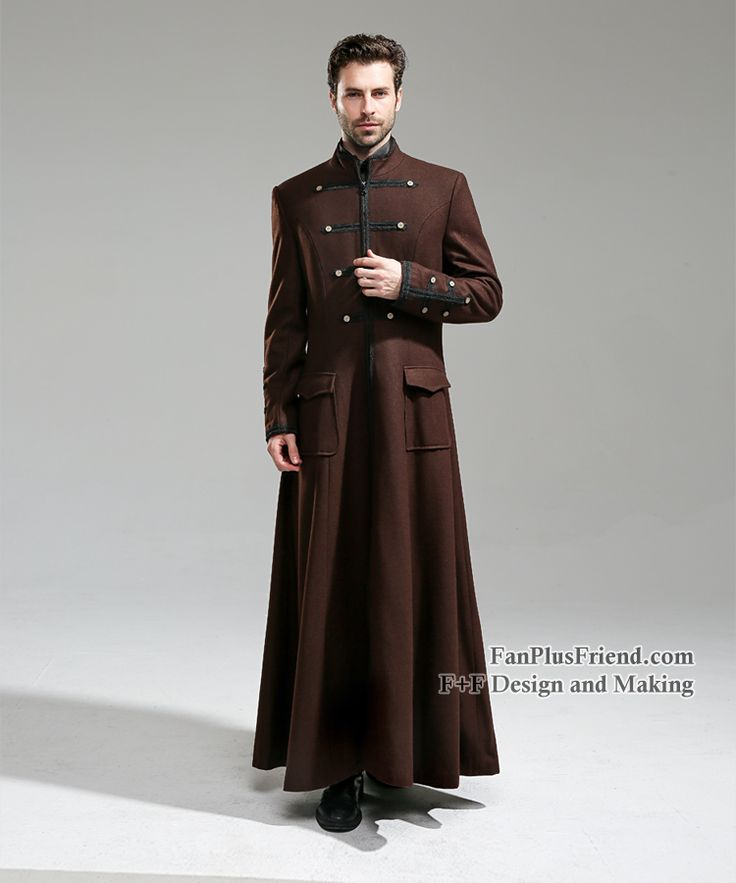 Beyond the End of Time Steampunk Gothic Dandy Long Wool Coat for Man