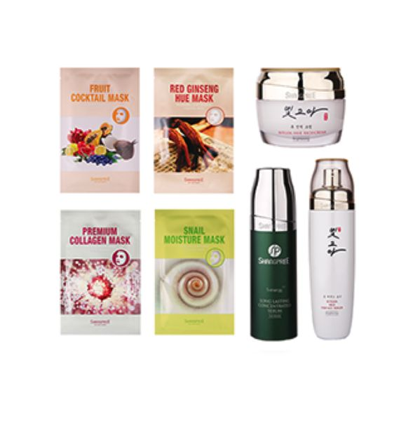 Korean Spa Gift Set | Peach and Lily | An assortment of spa-brand Shangpree products: 1) Assorted Sheet Masks (Fruit Cocktail, Red Ginseng, Snail, Collagen) 2) Bitgoa Hue Rich Cream 3) Bitgoa Hue Essence Toner 3) S-Energy Long-lasting Concentrated Serum