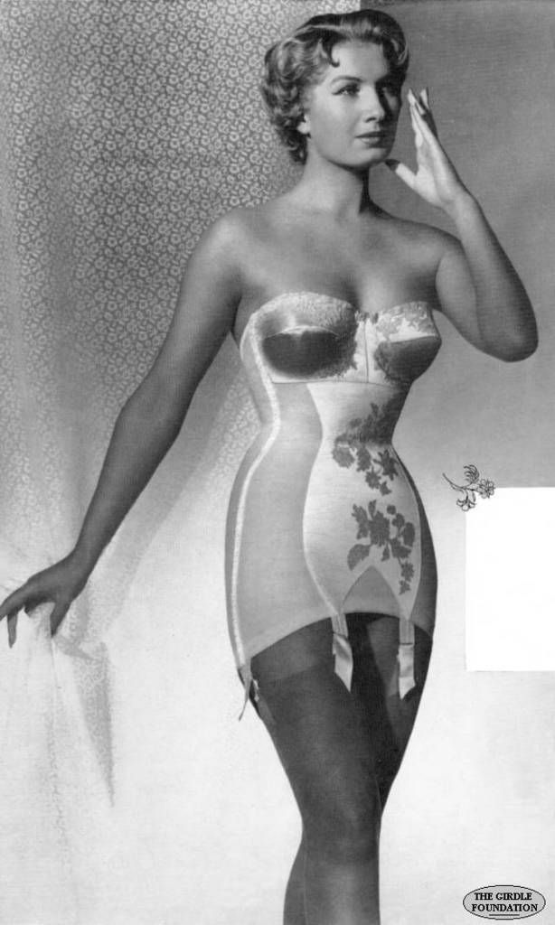 Vintage lingerie- corselette (bra, corset and girdle with ...