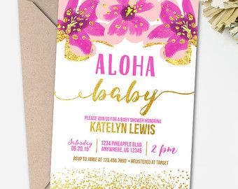 Aloha Bridal Shower Invitation Luau Bridal By PartyInvitesAndMore