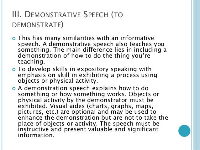 demonstrative speech essay Find some good demonstration speech ideas and make your speech exciting, useful and memorable.