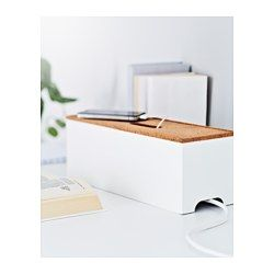 IKEA - KVISSLE, Cable management box, Charge your mobile and MP3 player and hide the charger and extension lead under the lid.Hole for cables in the lid and on the short sides.Raised base with vents to lead heat away from the chargers.