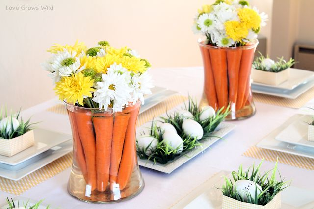 Easter Table Decor with Carrots and Eggs! #easter #easterdecor #easter2014 #eastereggs #tabledecor
