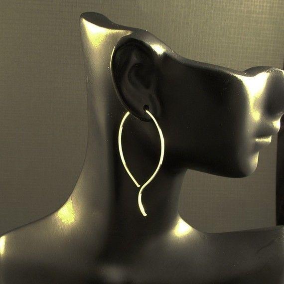 Large Silver Hoop Earrings / Big Sterling Silver by MetalRocks