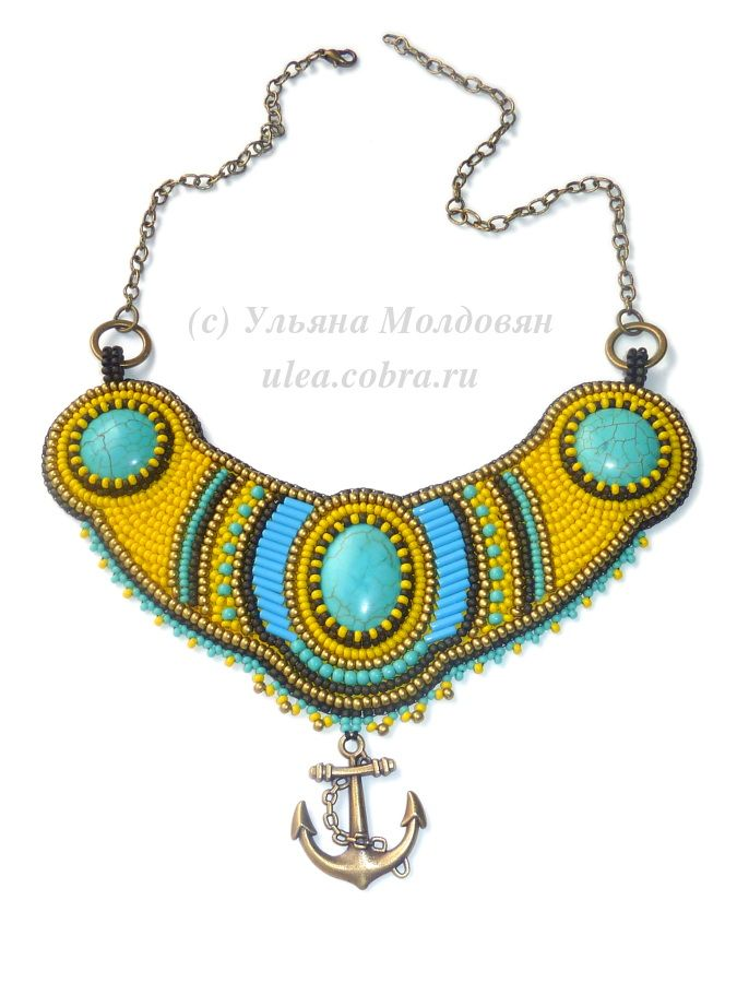 "Necklace ""Sunny sea"". Beaded jewelry by Ulyana Moldovyan. Bead embroidery. Jewelry with stones. Sea style necklace."