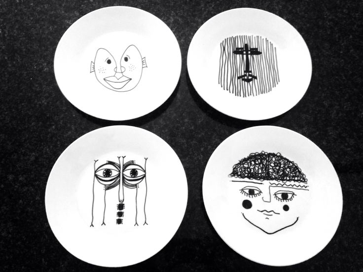 Ceramic side plates with line drawing faces (Bruno Munari style)