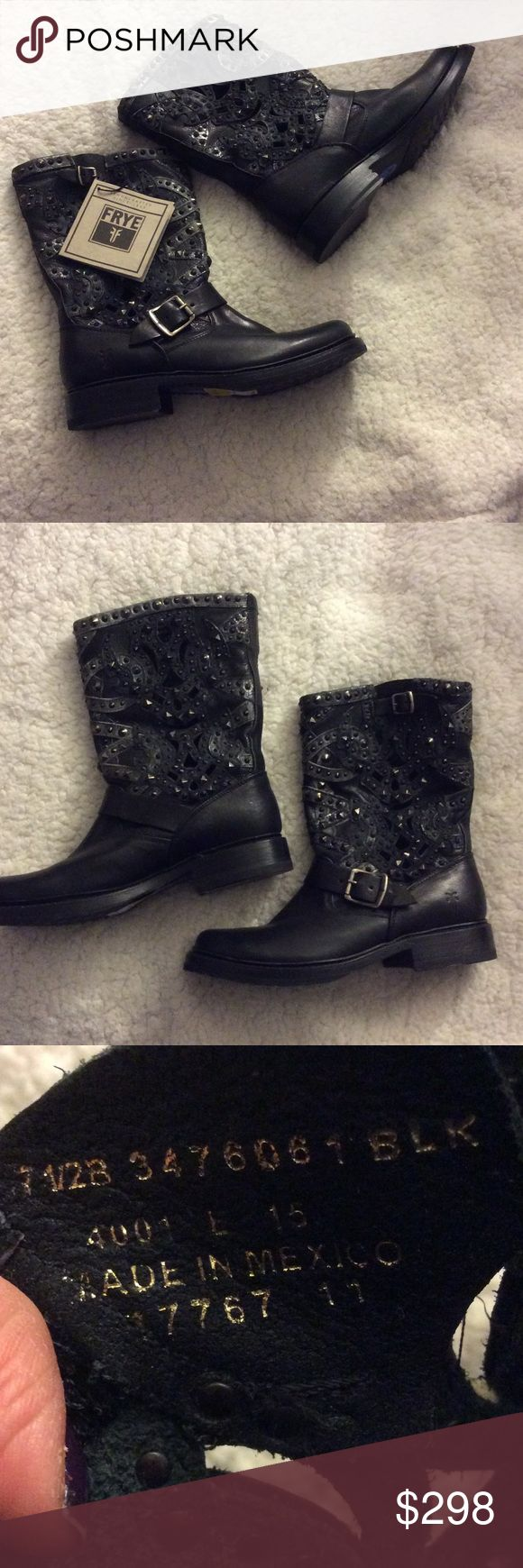 """NWT FRYE Studded Cutout Boot Black Size 7.5 NWT FRYE Studded Cutout Boot Black Size 7.5  Leather Throughout  Made in Mexico Shaft measures approximately 8""""from arch Heel measures approximately 1"""" Boot opening measures approximately 13"""" around. All gunmetal studs are intact. Frye Shoes Combat & Moto Boots"""