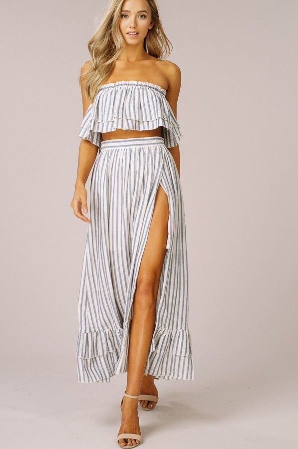 363c3b4ff09c Listicle striped two piece woven crop top and maxi boho skirt set S M L  #listicle #MaxiDressTwoPieceDress #AnyOccasion