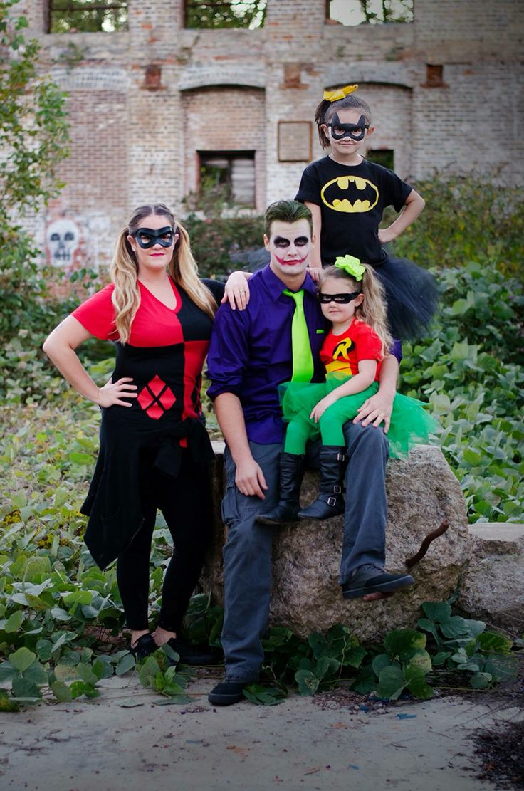 batman robin joker harley quinn family halloween costumes halloween pinterest fasching. Black Bedroom Furniture Sets. Home Design Ideas