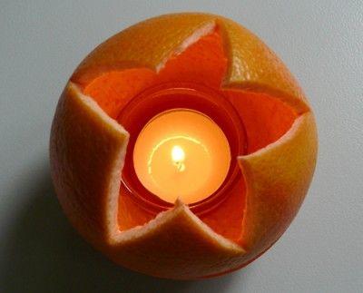 Weihnachtsbasteln mit Orangen - Windlicht aus Apfelsinen …