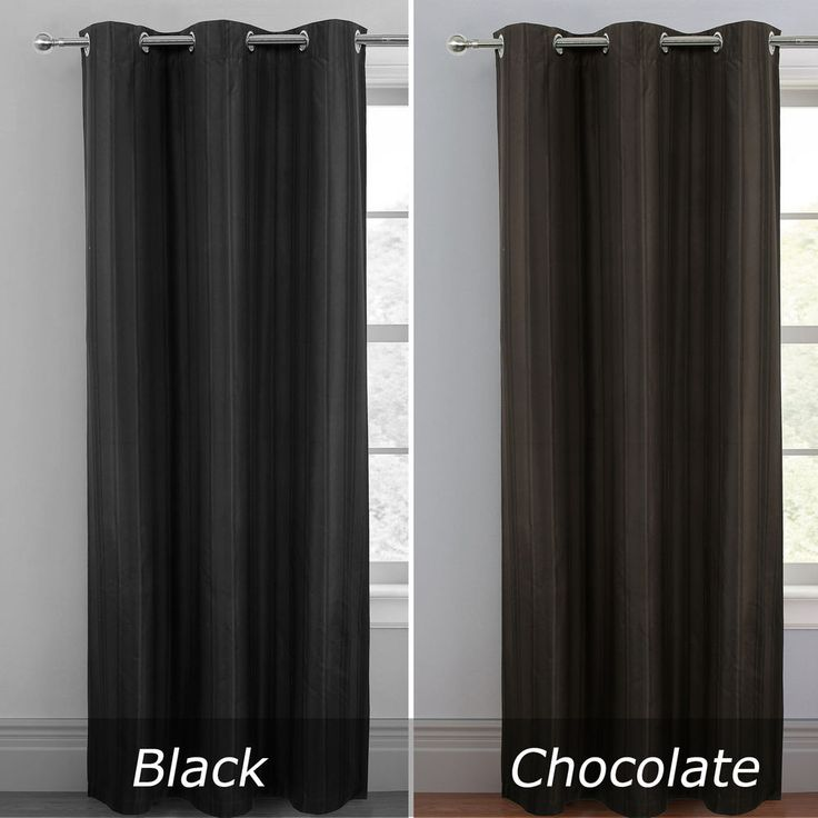 """47"""" Width Coated Blockout Stripe Panel Eyelet Curtain 84"""" Drop Black/Chocolate #Unbranded #Contemporary"""