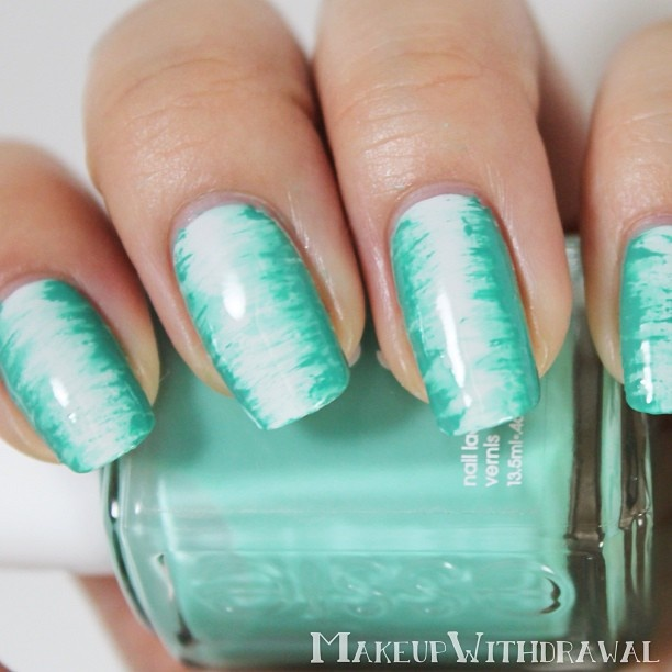Fan brush nail art design using OPI - My Boyfriend Scales Walls, Essie - Turquoise & Caicos,  Sally Hansen - Mint Sprint