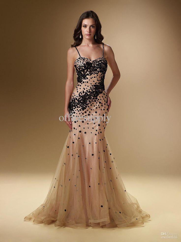 Fresh black and gold wedding dresses