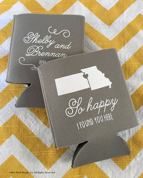 Kansas City wedding can coolers, Kansas Missouri border wedding, state outline wedding coolie, So happy I found you wedding coolers -200 qty
