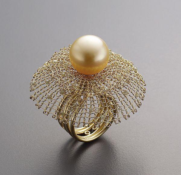 Ring | Sowon Joo. 18k gold, diamonds, pearl.