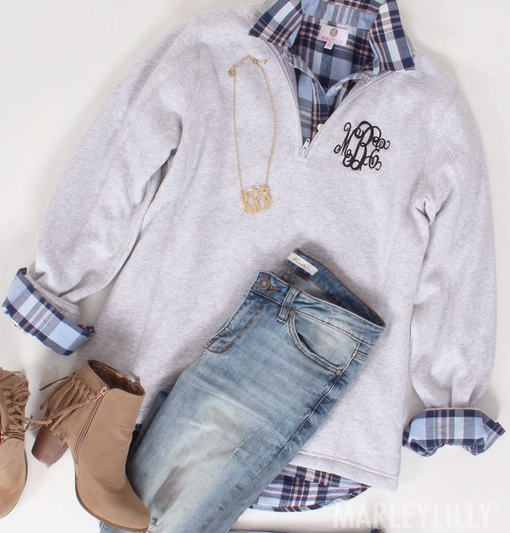 OOTD with a Monogrammed Sweatshirt Pullover! Available in 8 different colors!