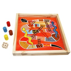 Australia - Serpents & ladders board game    $99.95  Australian Made    Hand painted and supplied in a wooden storage tray. 4 coloured wooden pieces and large wooden dice. size 40cm x 40cm    Made in Australia