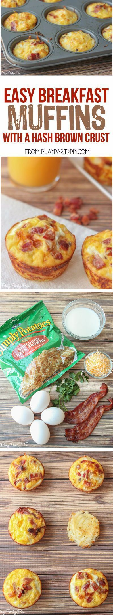 Easy Breakfast Egg & Bacon Muffins with a Hash Brown Crust. Halloween Brunch, Deviliciously Delicious