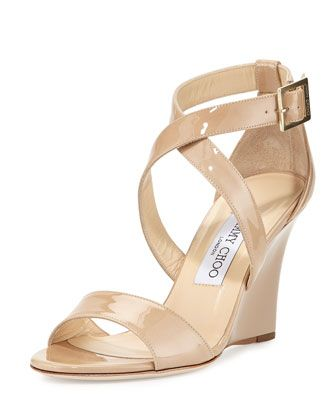 Fearne Patent Crisscross Wedge Sandal, Nude by Jimmy Choo at Neiman Marcus.