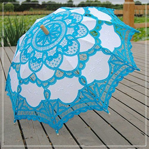 Amazon.com : Zorpia® Elegant Lace Embroidered Wedding Bridal Umbrella Parasol, Romantic Wedding Umbrella, Lady Costume Accessory Bridal Party Decoration Photo Props (blue) : Sports & Outdoors