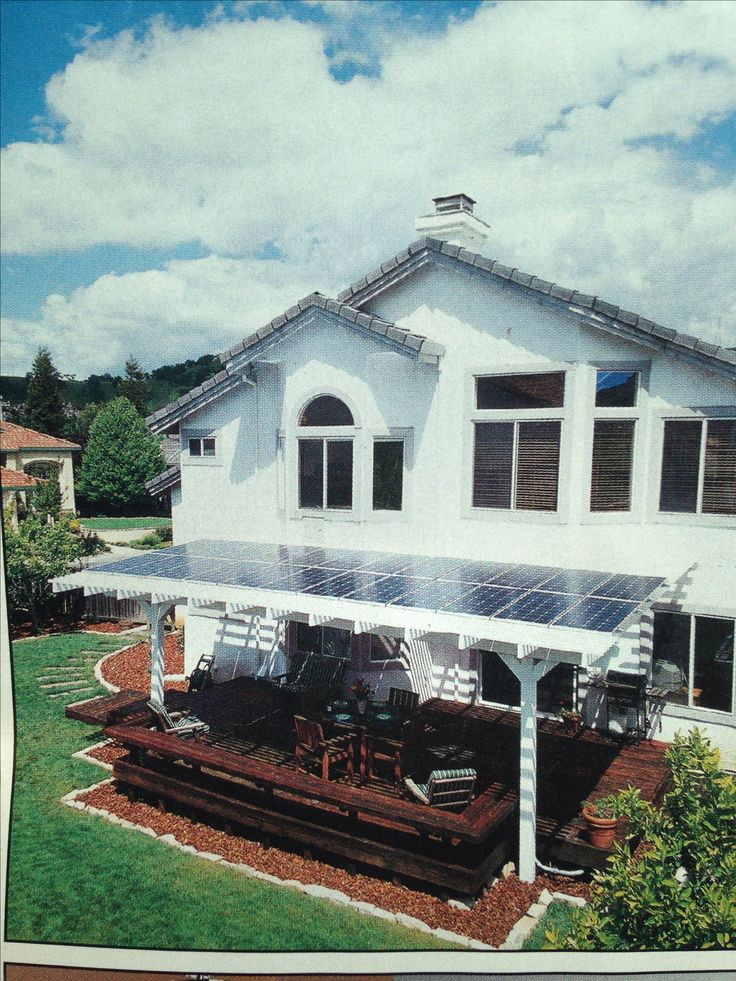 Solar panels on the pergola out back