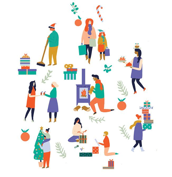 Spot Illustrations for the Christmas issue of Boots Health and Beauty magazine. This accompanied an article about the usefulness of delegating Christmas chores.