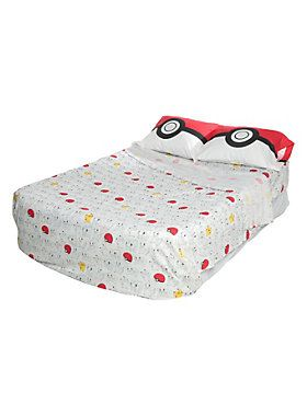 Pokemon print full sheet set.<BR>Includes: 1 flat sheet, 1 fitted sheet and 2 standard pillowcases.<ul><li> 100% polyester</li><li>Imported </li></ul>