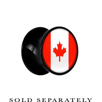 Canada Flag Black Acrylic Saddle Plug | Body Candy Body Jewelry