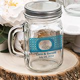 12 ounce personalized Glass mason jar with handle and silver metal screw top