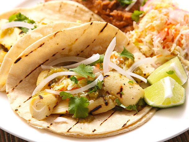 Grilled Marinated Heart of Palm Tacos With Spicy Cabbage Slaw (vegan)   Serious Eats : Recipespalms! Had it for he first time as a casserole with artichoke pie. Yum