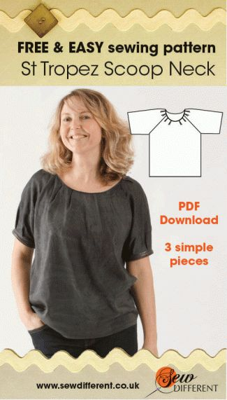 I just HAD to show you my newest make. It's another version of a top you may have seen already, the St Tropez Scoop Neck. One of my FREE sewing patterns available for download – here's the pattern. This one here has a completely different look and it shows the shape off much better than…