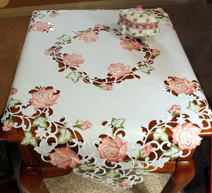 Stunning White Linen Tablecloth Topper Cutwork Embroidery Butterflies $29.99 - Google keresés