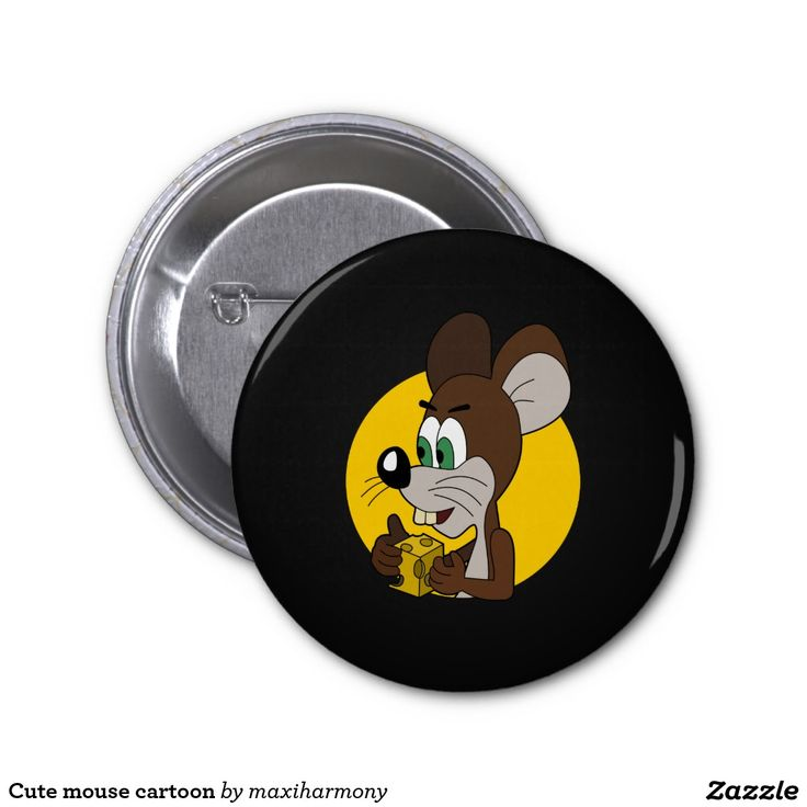 Cute mouse cartoon 2 inch round button