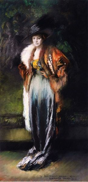 labellefilleart:  Mrs. A. Stewart Walker in a Fur, Everett Shinn