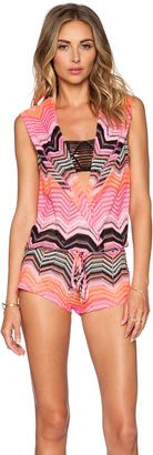 Luli Fama Pink Champagne Crochet Hoodie Romper - Shop for women's Romper - Multicolor_WX83 Romper