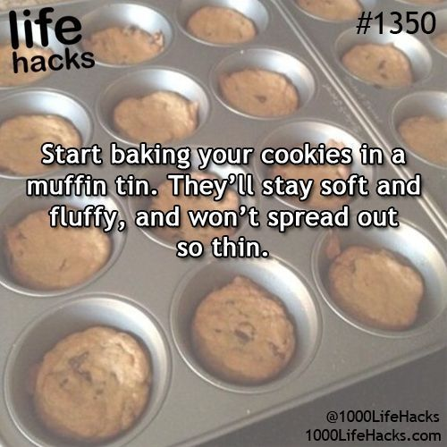 Bake Cookies in a Muffin Tin cookies diy baking easy diy cooking life hacks life hack. Like this pin from MTPractice.com? Like us on Facebook too: MTPracticeTranscription