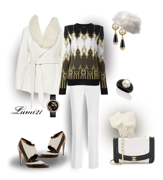 black and white by lumi-21 on Polyvore featuring Balmain, Alice + Olivia, Givenchy, Prabal Gurung, Chanel, Palm Beach Jewelry, Oleg Cassini, LOFT, blackandwhite and stylish