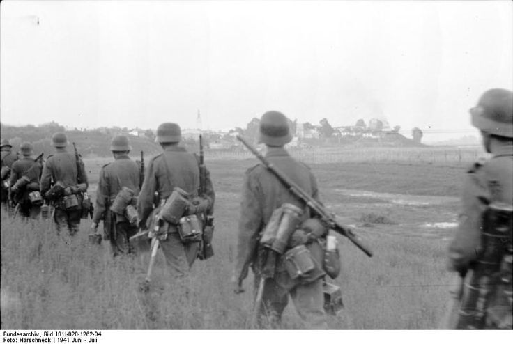 26 1941 The Germans arrive in town. German infantry Barbarossa.  The invasion of Russia meant long marches for the majority of German soldiers.