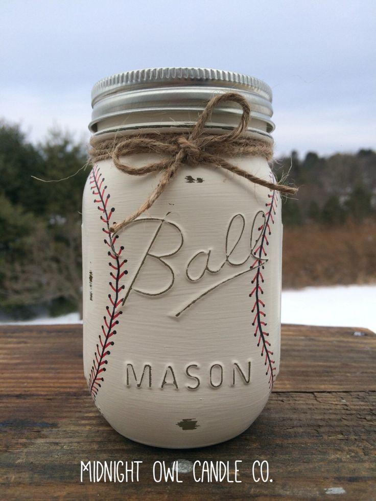 Hand-Painted Baseball Mason Jar Bank, Baby Shower Gift, Boys Birthday Gift, Sports Nursery, Baseball Nursery, Gift for Him, Mason Jars by MidnightOwlCandleCo on Etsy https://www.etsy.com/listing/222656726/hand-painted-baseball-mason-jar-bank