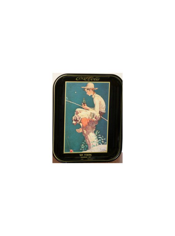 Coca Cola Collectibles Metal Tray Boy Fishing 1935 Calendar Art Norman Rockwell by VintageTerrace