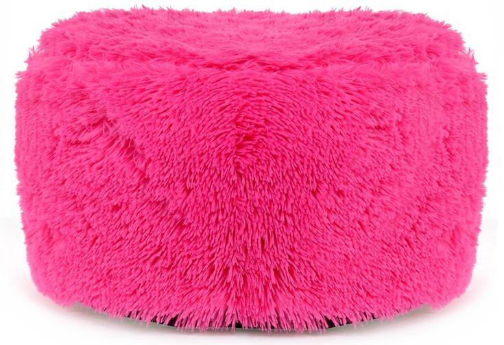 Chlpatá nafukovacia taburetka ružovej farby