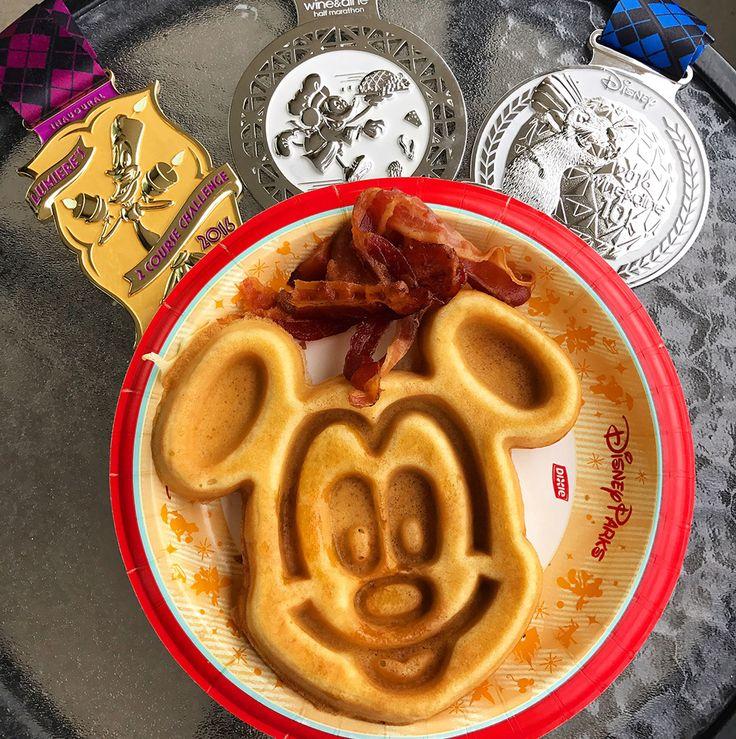I Run for Mickey Waffles http://www.runnersworld.com/walt-disney-world-marathon/how-to-get-the-perfect-rundisney-bling-shot/slide/11