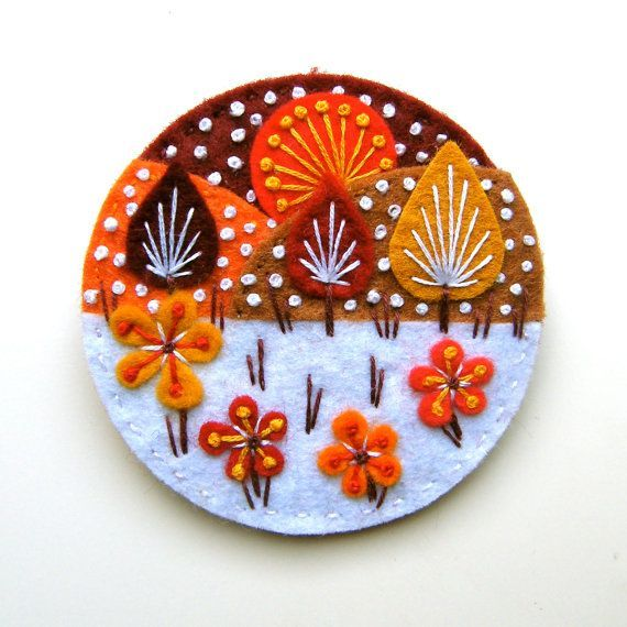 SNOWSCAPE felt flower brooch  hand made with by designedbyjane: