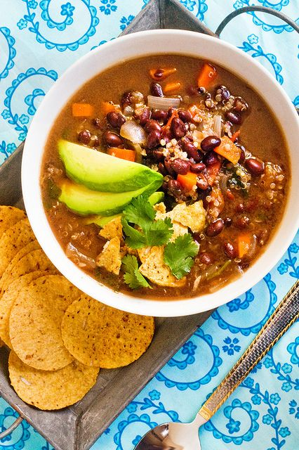 Black Bean Quinoa Soup: like an enchilada you can enjoy with a