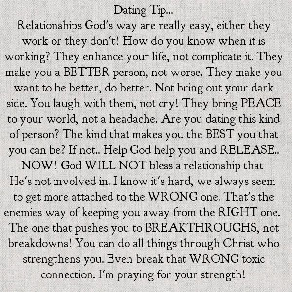 I absolutely love this. I actually feel as though its not just for dating. God has a purpose for everything.