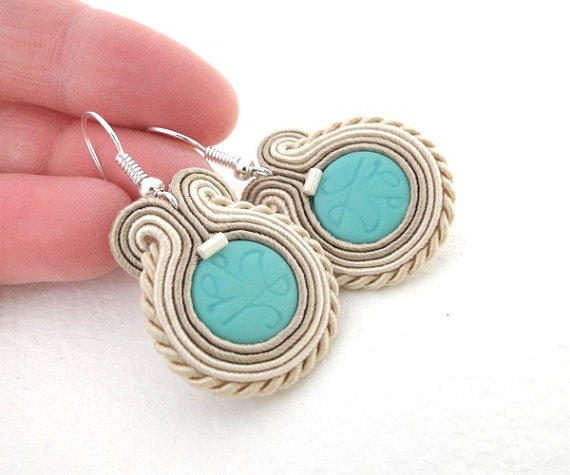 Ocean soutache earrings pastel fashion spring beige by soStudio, $30.00