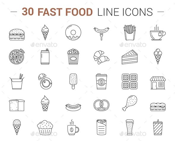 Fast Food Line Icons Line Icon Icon Food Icon Png